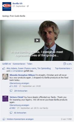 Screenshot facebook.com/BarillaUS